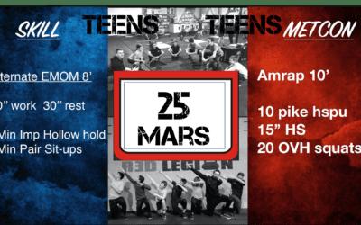WOD TEENS du 25 Mars 2020